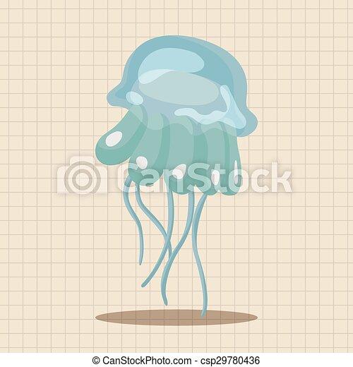 sea animal jellyfish cartoon theme elements - csp29780436