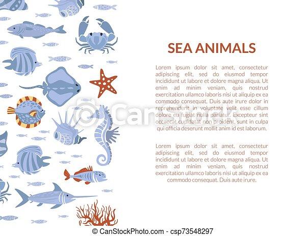 Sea animals banner template with marine inhabitants of sea fauna.
