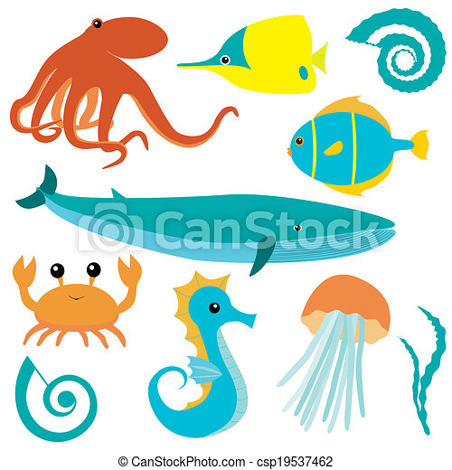 sea animals collection collection of sea animals isolated clip rh canstockphoto com cute sea animal clipart sea animals clip art images