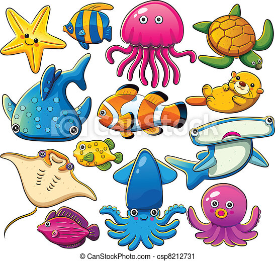 cartoon illustration of various sea animals collection vector clip rh canstockphoto com sea creature clipart free black and white cute sea creatures clipart