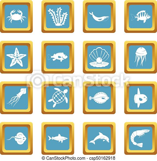 Sea animals icons azure - csp50162918