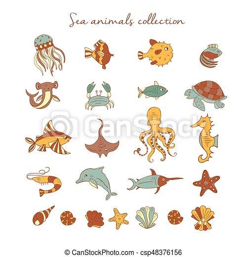 Sea animals icons - csp48376156