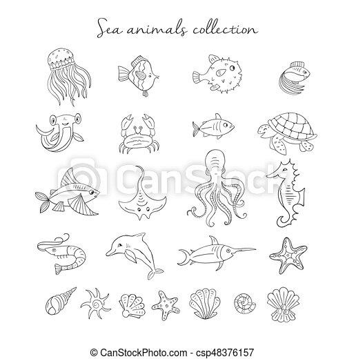 Sea animals icons - csp48376157