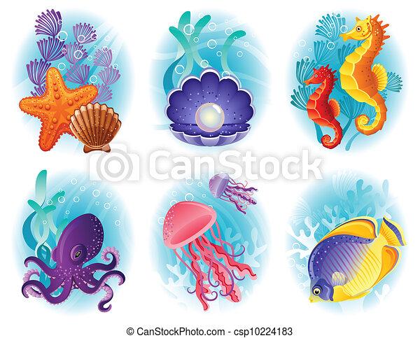Sea animals icons - csp10224183