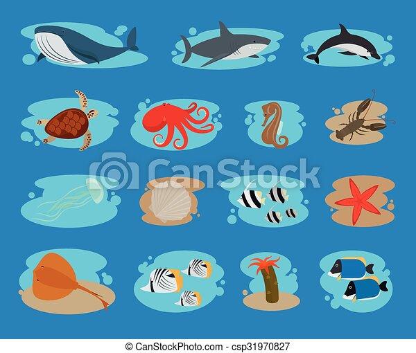 Sea animals icons - csp31970827