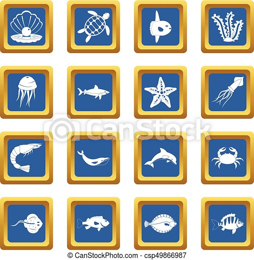 Sea animals icons set blue - csp49866987