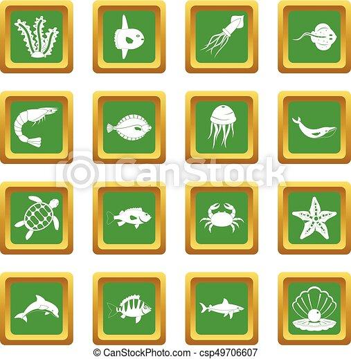 Sea animals icons set green - csp49706607