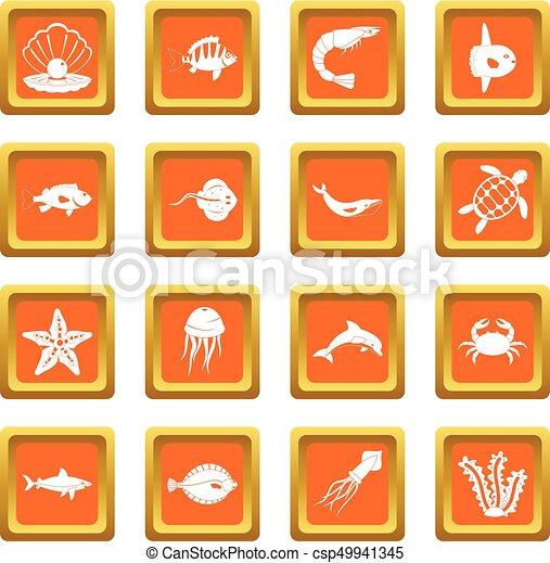 Sea animals icons set orange - csp49941345