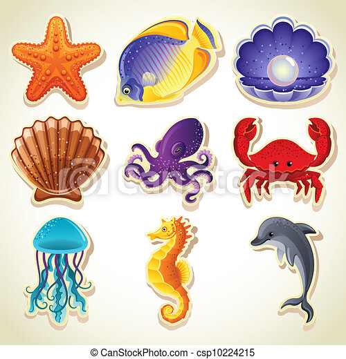 Sea animals icons - csp10224215