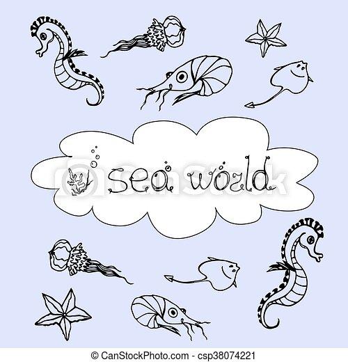 Sea Animals Set Hand Drawn With