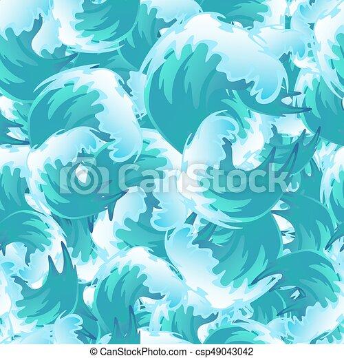 Sea Blue Water Wave Seamless Pattern Ocean Border Background Design Element For Banner Or Greeting Card Decoration Vector Illustration