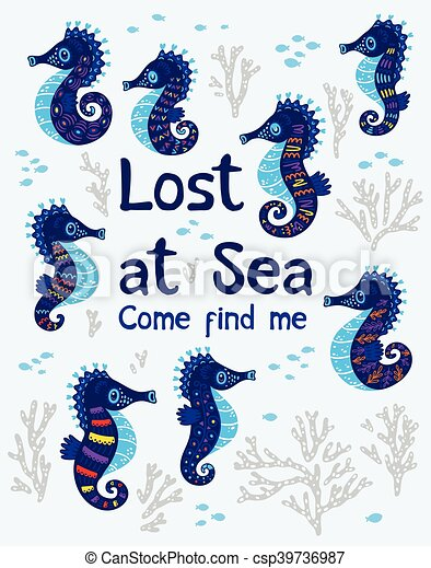 Sea card with stylized cartoon seahorse - csp39736987