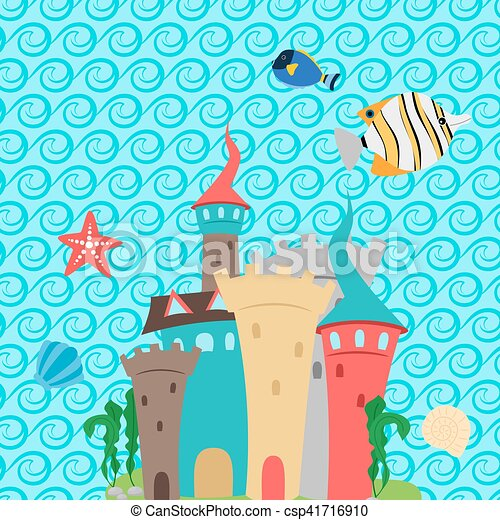 Sea Castle And Waves Pattern Wallpaper
