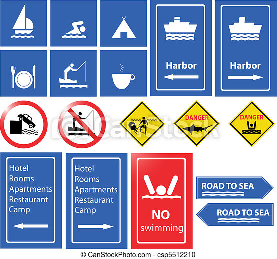 sea danger and information signs  - csp5512210