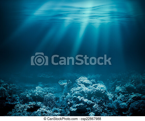 Sea deep or ocean underwater with coral reef as a background for your design - csp22867988