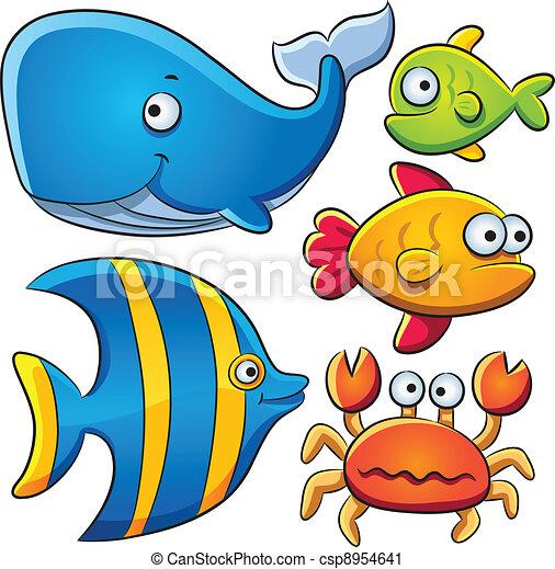 cartoon illustration of sea fish collection vector clip art search rh canstockphoto com clip art collections for sale clip art collections free download