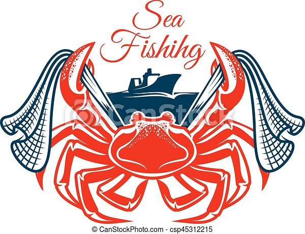 sea fishing symbol with crab and net crab sea fishing vector rh canstockphoto com Christian Labor Day Clip Art Philly Cheesesteak Clip Art