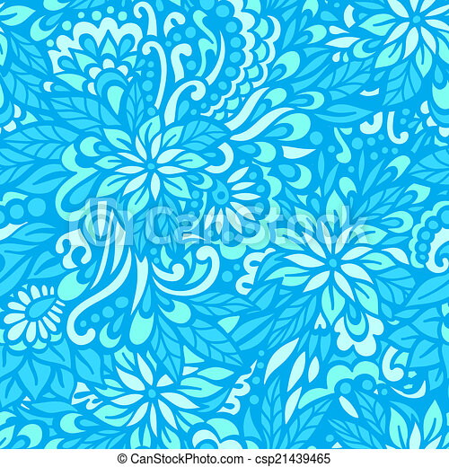 Sea flowers. Seamless decorative pattern. - csp21439465