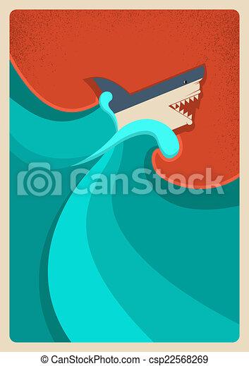 Tiburón en el mar azul. Fondo de póster de vectores - csp22568269