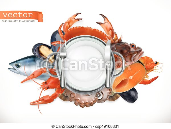 Sea food logo. Fish, crab, crayfish, mussels, octopus 3d vector icon, realism style - csp49108831