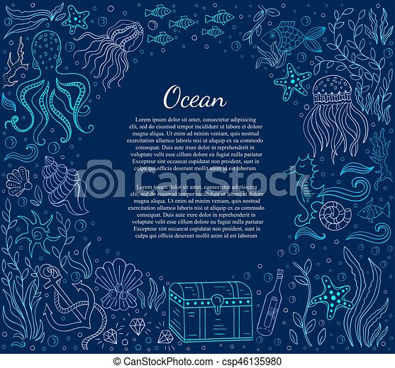 Sea frame and text - csp46135980