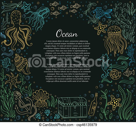 Sea frame and text - csp46135979