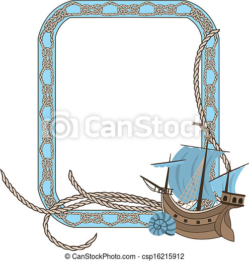 Sea frame with knots and boat - csp16215912