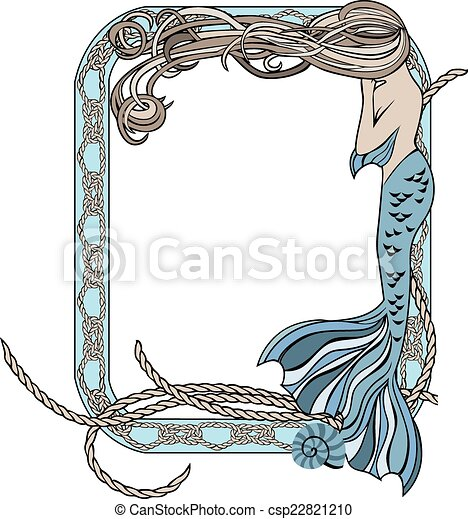 Sea frame with mermaid and knots - csp22821210