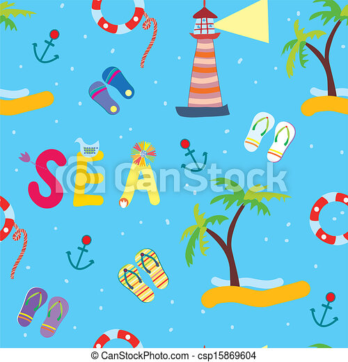 Sea funny seamless pattern for kids  - csp15869604