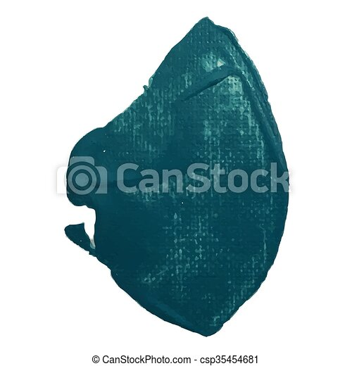 Sea green smear vector brush stroke. Varnish splash line trace. Abstract shape paint. - csp35454681
