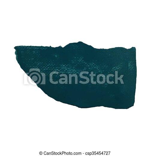 Sea green smear vector brush stroke. Varnish splash line trace. Abstract shape oil paint - csp35454727