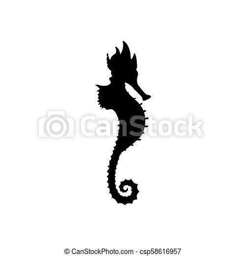 Sea horse silhouette - csp58616957
