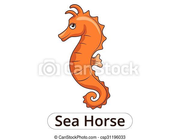Sea horse underwater animal cartoon illustration  - csp31196033