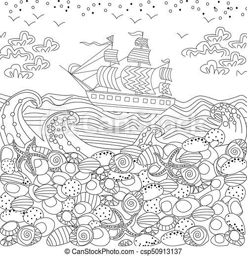 Sea landscape for coloring book.