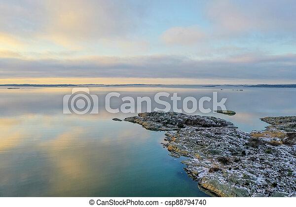 Sea landscape in winter drone photo - csp88794740