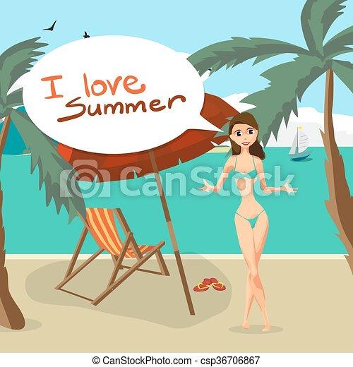 Sea Landscape Summer Beach Palm Tree Sun Umbrellas Beds Woman In Swimsuit On Background