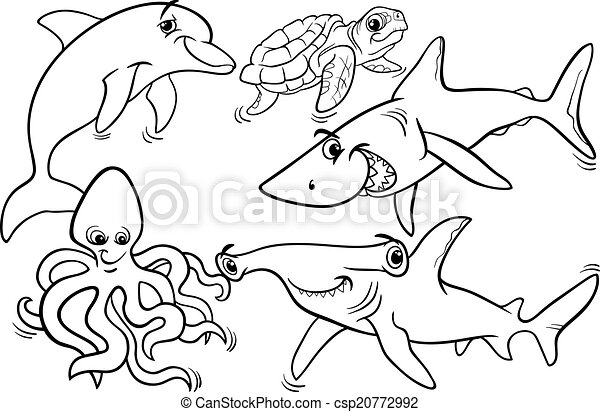 Sea life animals and fish coloring page. Black and white cartoon ...