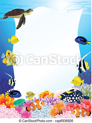 Sea life background with blank sign - csp6936926