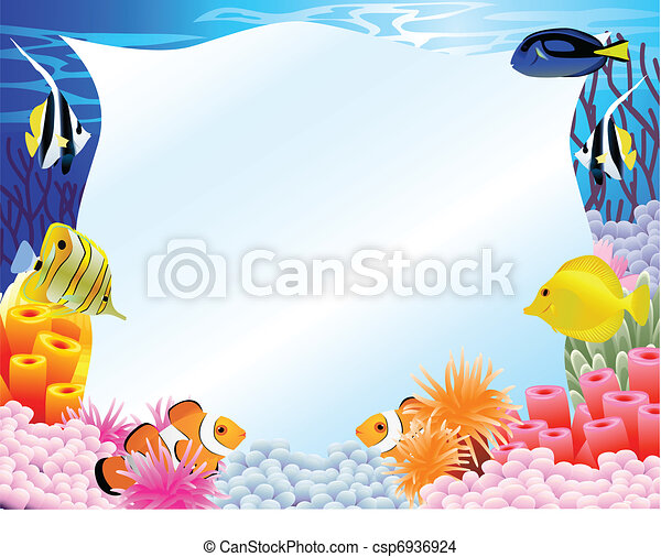Sea life background with blank sign - csp6936924