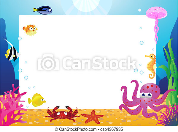 Sea life cartoon and blank space - csp4367935