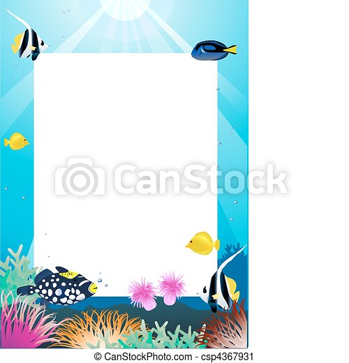 Sea life cartoon and blank space - csp4367931