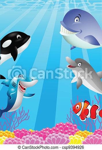 Sea life cartoon - csp9394926
