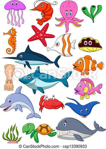 Sea life cartoon set - csp13390933