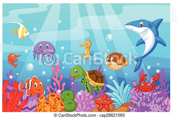 Sea life cartoon with fish collecti - csp28621093