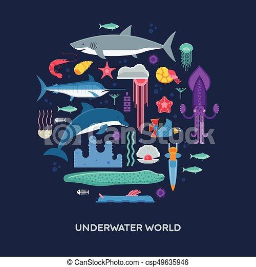 Sea Life Concept Card - csp49635946