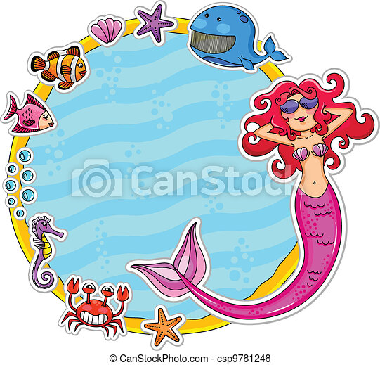 sea life frame frame with sea creatures and a mermaid vector rh canstockphoto com Ocean Animals Clip Art Ocean Drawing