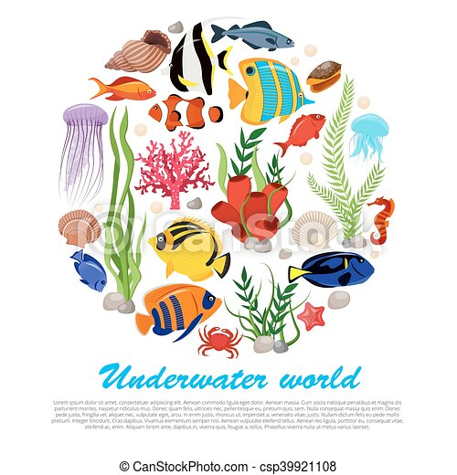 sea life poster sea life animals plants poster with vector rh canstockphoto com vector poster templates vector holster