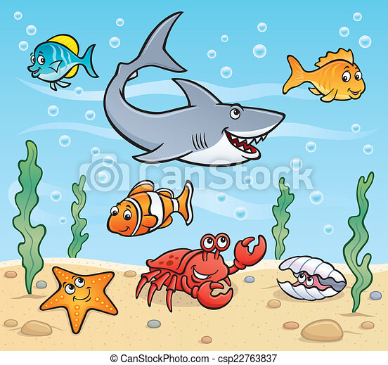 sea life scene cartoon illustration of sea creatures in the ocean rh canstockphoto com Cartoon Ocean Floor cartoon ocean scenery