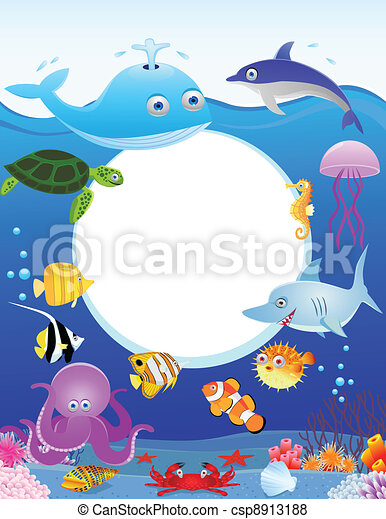 Sea life with blank sign - csp8913188