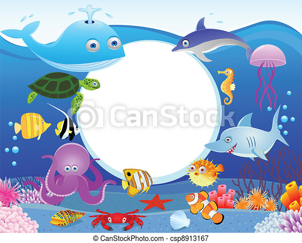 Sea life with blank sign - csp8913167